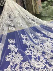 Tejidos de punto tul bordado de encaje de flores tejido blanco vestido de novia