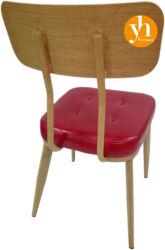 كرسي مطعم KFC كرسي خشبي صلب كرسي تثبيت على الساق وسادة حمراء