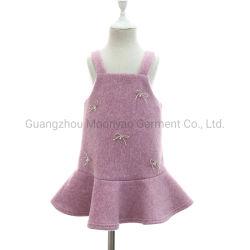 Las niñas de lana suave caída de Pinafore cintura vestidos de invierno con cintas