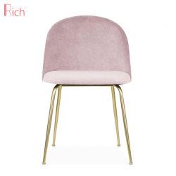 Nordic Style Mobili per la casa Soft Pink Velvet sedia uso ristorante Sedia da pranzo in acciaio inossidabile con finitura Gold