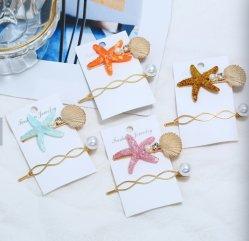 方法模造の真珠の花レット Starfish の毛グリップの貝のヘアピンの毛のクリップの毛の付属品は浜に女性の女の子のために