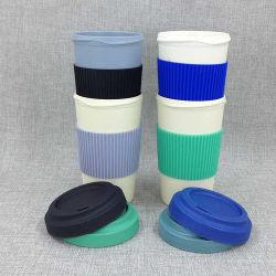 Tazza di caffè di bambù naturale ecologica della fibra con il coperchio della fibra ed il manicotto di bambù del silicone