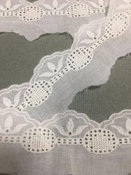 Blanco bordado de prendas de vestir de moda textil de algodón tejido de encaje