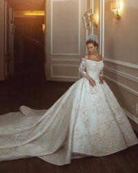 긴 소매가 있는 신부 볼 가운 스쿠프 넥선 비딩 끈 웨딩 드레스 P007