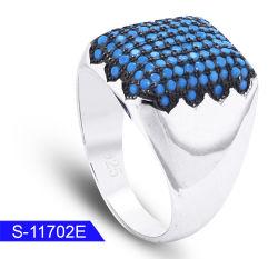 Оптовая торговля нового дизайна моды украшения 925 серебристые Micro бирюза камень кольца для мужчин