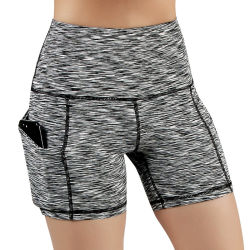 As mulheres Fashion alta relação cintura esticar o Pocket cor sólida de desportos de ioga Ioga Non-Transparent curtos