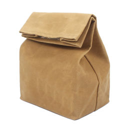 熱い販売防水ロール上は大きい容量を学校の使用そしてピクニックのために折りたたみキャンバスの昼食の袋によって絶縁されたより涼しい袋にワックスを掛けた
