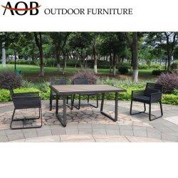 Vida al Aire Libre chino moderno jardín de ocio, se establece el Hotel Restaurante cuerda tejida silla mesa rectangular Dinign muebles