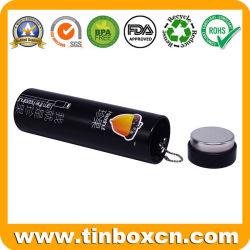 Portable Slim redonda pequeña caja de regalo una lata de metal de estaño de caramelos de fruta con la cadena y tapón de tapa para caramelos menta