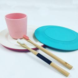 Placa de vajillas ecológicas pastel de las placas de fibra de madera soporte de chapa de bambú