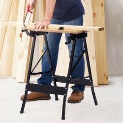 Aço inoxidável bancada de trabalho portátil de madeira de dobragem da bancada de trabalho