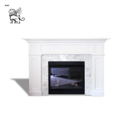 Un design moderne artificiel en intérieur utilisé pur Blanc cheminée en marbre naturel Mfm-15
