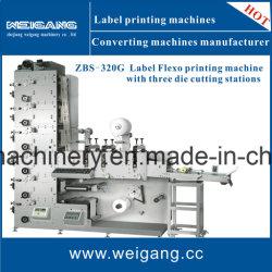 Étiquette de la pile de l'impression flexographique Machine avec trois stations de découpe