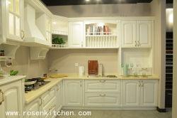 تصميم أبيض حديث سهل التنظيف الخشب الصلب المطبخ كابين