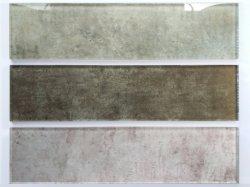 A série do Mediterrâneo Madeira Mosaico Mosaico de vidro de tijolos de grãos 100 * 400 * 8 Floorring Tile para Decoração/Mosaico Tile para parede/de revestimentos cerâmicos texturizados