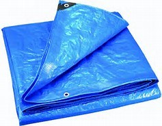 Oleado azul Tearproof impermeável rebordos reforçados