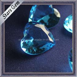 Hermoso Corazón Cristal de Aguamarina colgante de perlas Anillo Zarcillo Pulsera Collar