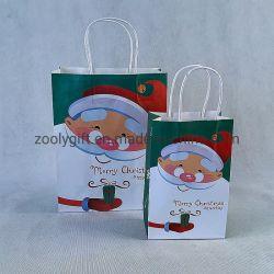 Santa Claus de papel bolsas de regalo de Navidad de color rojo con empuñadura de venta al por mayor bolsa de compras de Navidad
