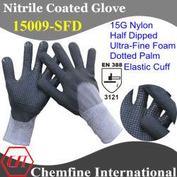 15g нейлон вязаные рукавицы с Ultra-Fine нитриловые пена покрытие и десятичном формате с упора для рук и эластичные манжеты