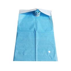 Para usos médicos desechables, la película PE +Dental dental servilletas de papel Baberos con bolsillo delantal Dental