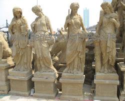 Резьба по старинной сад камня статую с четыре сезона скульптура (Си-X1703)