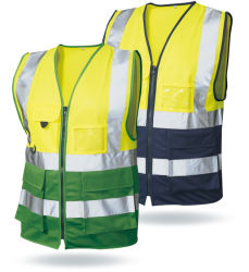 100% Polyester Traffic Producten Security Guard Uniform Reflective Safety Vest Met Pvc Card Pocket