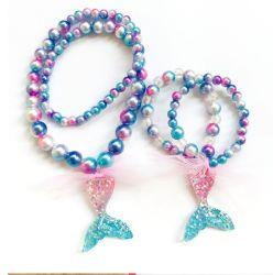 Ensemble de collier de perles de résine de bijoux de Mermaid Bracelet Bracelet de sirène de changement de couleur de gradient Necklace
