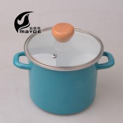 L'émail sur stock pot en acier avec couvercle couleur