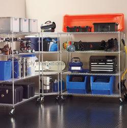 4 слоя из нержавеющей стали для хранения полок с самоустанавливающимися колесами используется в гараже склад