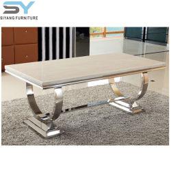 Mobilier en acier inoxydable ensemble à dîner Table en marbre Table à manger moderne