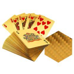 24K金のトランプのポーカーゲームのデッキの金ホイルの火かき棒の一定のプラスチック魔法のカードの防水カード