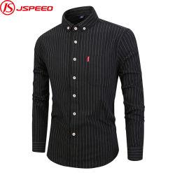 Het Toevallige Koele Lange Katoenen van de Kraag van de Overhemden van de Koker Mens Streep Gestreepte Overhemd van uitstekende kwaliteit voor Mensen