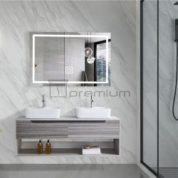 Il più venduto europeo laminato parete armadio bagno in ceramica lavabo Lavandino con specchio a LED
