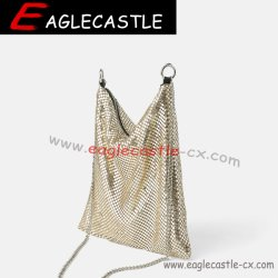 Signora Aluminum Handbag/sacchetti di Bling maglia del metallo/sacchetto signora sera di modo/sacchetto Drastring del partito/sacchetto partito di notte (CX19444)