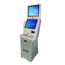 Tela dupla Self Service quiosque de check-in no hotel com passaporte de pagamento do scanner