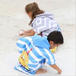 Secado rápido unisex de microfibra de Animal Print Kids Poncho con Capucha Toalla con bolsa de malla