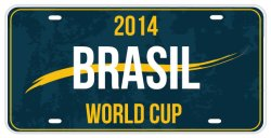 브라질에 있는 브라질 장식적인 번호판 또는 월드컵 장식적인 번호판