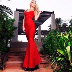 Платья платье скольжения порванный жгут платье Prom платье платье Strapless Fishtail платья на сторону