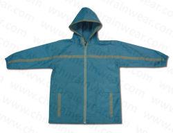 高品質のファッションデザインレインウェア PU コーティングの子供 / 子供用レインコート フード付き