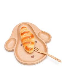 Platten-natürliches Ende umweltfreundliche Buche-Karikatur-des hölzernen Tellersegment-Kindes Nahrungsmittel