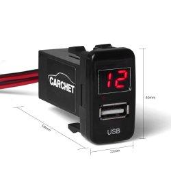PRESA USB 2.1A caricabatteria da auto + voltmetro digitale per Toyota Vigo