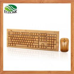 Bambù senza fili di bambù della tastiera del mouse e della tastiera