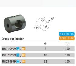 20mm 304/316 roestvrijstalen dwarsbalkhouder (BH01.02/04)