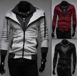 Diseñado para hombres moda invierno Zip encapuchados camiseta (14318)