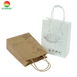 Пользовательский логотип Craft напечатано Магазины / перевозчика складные мешок для упаковки, Роскошный подарок из вторсырья мешок для упаковки, моды крафт-бумаги для подушек безопасности / чай / обувь / одежда