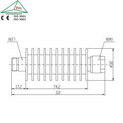 Nのメス型コネクタDC4GHz 50W Atteuator 3dB/30dBへのNの男性が付いている固定RFの減衰器