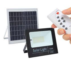 Улицы в саду солнечного освещения прожектора светодиодные индикаторы пульта дистанционного управления IP66 водонепроницаемый 50Вт 100W Солнечная панель Светодиодный прожектор