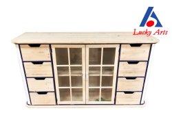Старинная Интерьер деревянный шкаф с одной дверью и 8 выдвижными ящиками