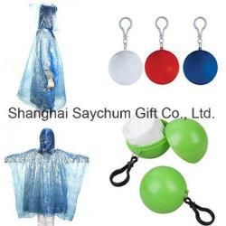 PVC imperméable pluie Portable jetable Poncho Keyring imperméables à billes