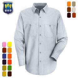 줄무늬 긴 소매 정장 드레스 사무실 획일한 일 셔츠